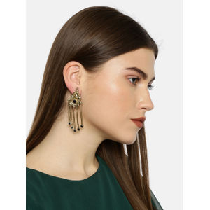 Gold-Toned & Black Floral Drop Earrings