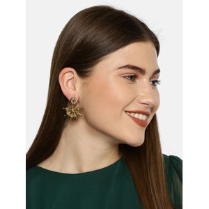 Gold-Toned & Red Classic Drop Earrings