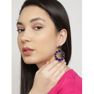 Gold-Toned Stone-Studded Drop Earrings