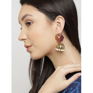 Gold-Toned Pink Textured Jhumka Earrings