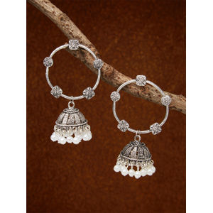 Ethnic Indian Traditional Silver Circle Jhumka Earrings For Women