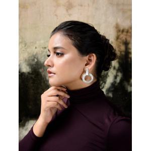 Silver-Toned Circular Drop Earrings