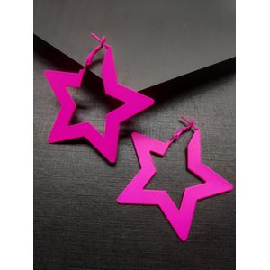 Pink Star Shaped Hoop Earrings