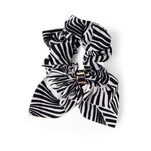 Toniq Black and white Printed Bow Scrunchie For Women