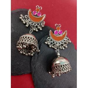 Silver and Orange Jhumki Earring