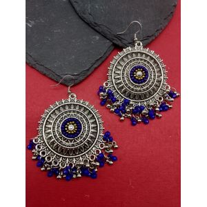 Navy and Silver Circular Drop Earring