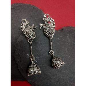 Silver Peacock Drop Earring