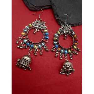 Silver and Multi Dome Jhumki Earring