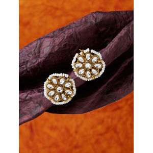 Elegant Ethnic Indian Traditional Classic Gold Pearl Embellished Stud Earring For Women