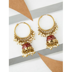 Ethnic Traditional Gold Plated Red Enamel Pearl embellished Hoop Jhumki Earrings For Women