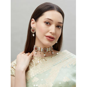 Pearl & Stone Embellished Choker Necklace & Stud Earrings set For Women-1Necklace,1Pair Earring