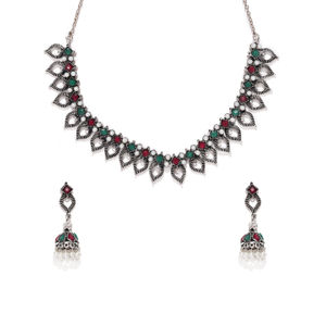 Silver-Toned Leaf Designed Oxidised Jewellery Set