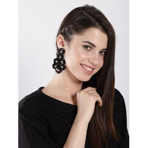 Black Sequined Flora Drop Earrings