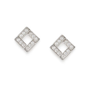 Silver-Toned Square Studs