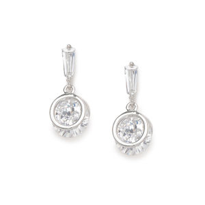Silver-Toned Rhodium Plated Contemporary Drop Earrings
