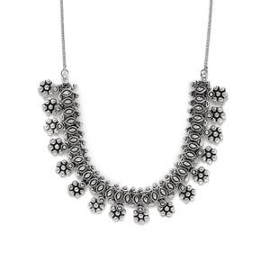 Women Silver-Toned Floral Necklace