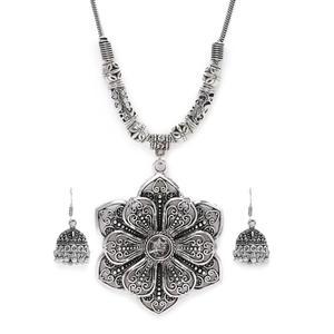 Women Silver-Toned Oxidised Tribal Necklace & Earring Set