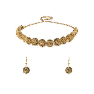 Gold-Toned Stone Studded Jewellery Set