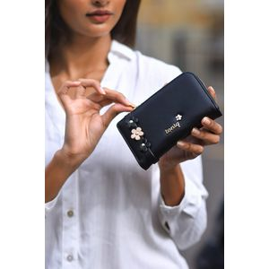 Black Floral Detailed Wallet For Women