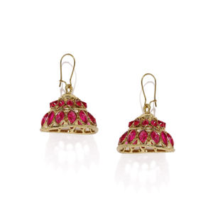 Gold-Toned  Black Stone-Studded Jhumka Earrings