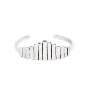 Silver-Toned Metal Tribal Cuff Bracelet-ONESIZE-Silver