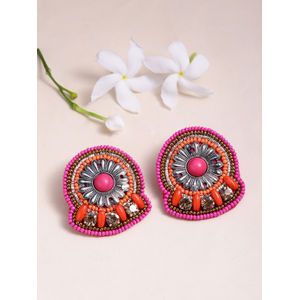 Silver-Toned & Pink Beaded Contemporary Studs
