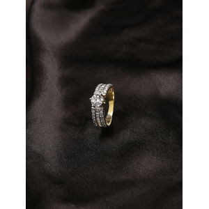 Women Gold-Toned White Wander Love Band Ring