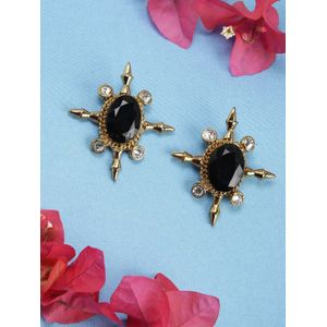 Gold-Toned Black Oval Stud Earrings