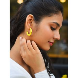 Yellow Crescent Shaped Half Hoop Earrings
