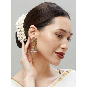 Ethinic Indian Traditional Beautiful Gold  and Green Stone Drop Jhumka Earrings For Women
