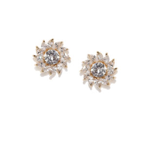 Gold-Plated Floral Cyrena Cz Studs