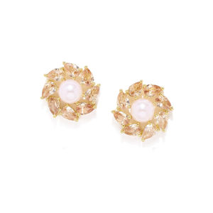 Gold-Toned & White Circular Stud Earring For Women