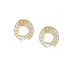 Gold-Plated Cz Contemporary Stud Earring For Women