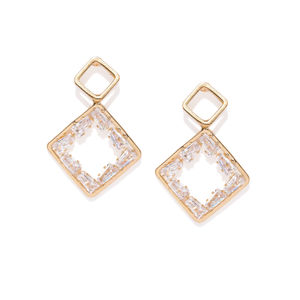 Gold-Toned Geometric Drop Earrings