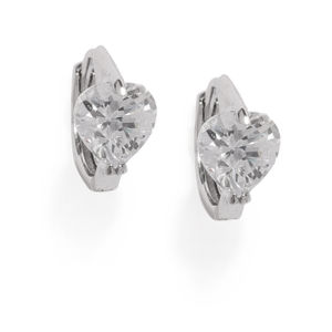 Silver Diana Cz Stone-Studded Earrings