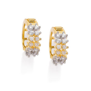 Gold Kyra Cz Stone-Studded Earrings