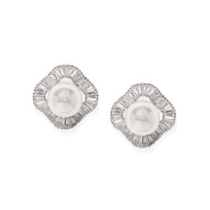 White Rhodium-Plated Cz Geometric Stud Earring For Women