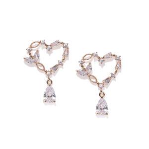 Gold-Plated Cz Heart Drop Earring For Women