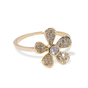 Gold Toned Floral Cz Stone-Studded Ring