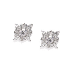 White Rhodium-Plated Cz Floral Stud Earring For Women