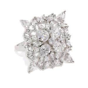 White Rhodium-Plated Cz Finger Ring For Women