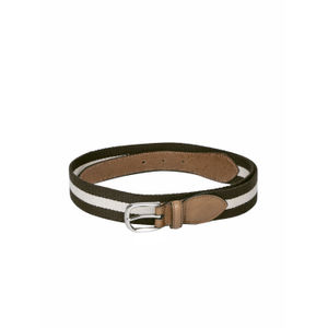 Brown & Cream Stripped Belt For Men