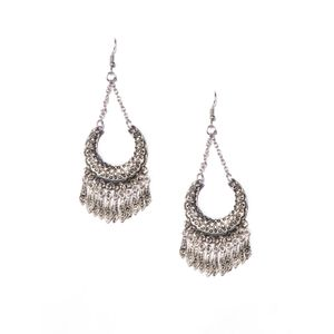 Silver-Toned Crescent Shaped Drop Earrings