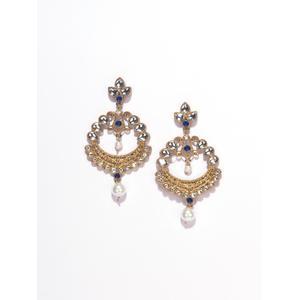 Gold-Toned & Navy Blue Drop Earrings