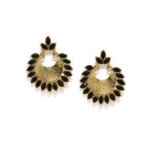 Antique Gold-Toned & Black Crescent Shaped Beaded Chandbalis
