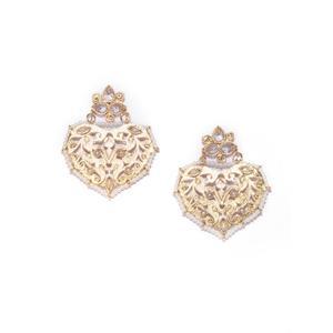 Gold Tone White Pearl Heart Shape Drop Earrings For Women