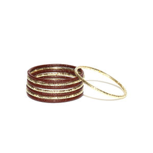 Kids Set Of 8 Brown & Gold-Toned Bangles