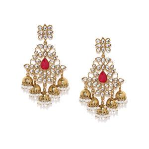 Gold-Tone Kundan Jhumka Earring For Women
