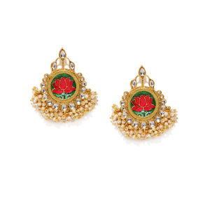 Gold Tone & Green Floral Contemporary Drop Earring For Women