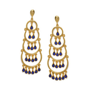 Gold-Toned & Blue Contemporary Drop Earrings